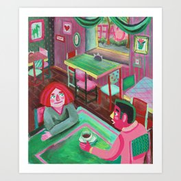 cute lovers sitting in a cafe Art Print