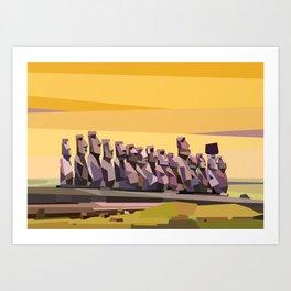Geometric Easter Island Art Print