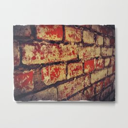 red and white, weathered, Brick Wall Metal Print