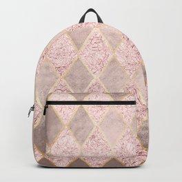 Blush Rose Gold Glitter Argyle Backpack