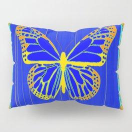 Lapis Blue & Gold Monarch Western Art design Pillow Sham