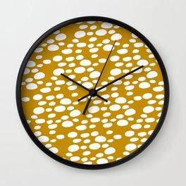 Monstera Leaf Hole Pattern - mustard yellow Wall Clock