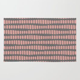 Dusty rose gold waves on grey charcoal faux glitter pattern Rug