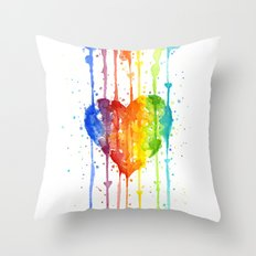 Heart Rainbow Watercolor Love Wins Colorful Splatters Throw Pillow