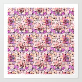 Vintage Grandma Quilt, Textured Watercolor Lavender Purple Flower Quilting Pattern Illustration Art Print
