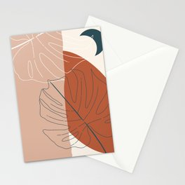 Monstera Abstract Terra Stationery Cards