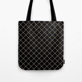 Pantone Hazelnut Thin Line Stripe Grid (Pinstripe Pattern) on Black Tote Bag
