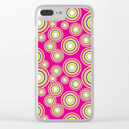 Circles on pink background Clear iPhone Case