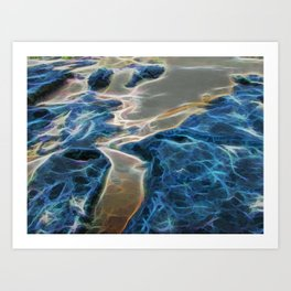Abstract rock pool and sand on a beach Art Print