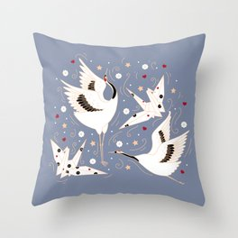 Origami Crane Metamorphosis (Blue) Throw Pillow