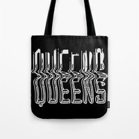 queens of the stone age Tote Bags featuring Queens by Hoods