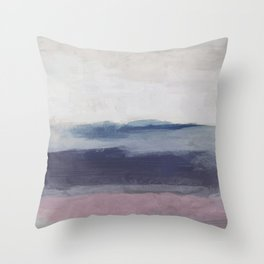 Plum Purple Navy Lavender Blue Abstract Painting Wall Art Prints, Ocean Waves Horizon, Modern Wall Throw Pillow