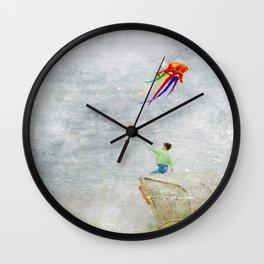 Boy at the beach Wall Clock