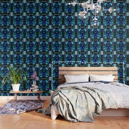 Blue and Aqua Stained Glass Victorian Design Wallpaper