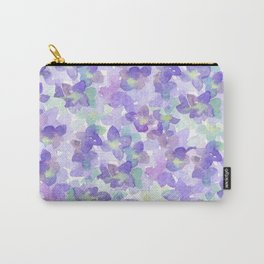 Hand painted watercolor violet lilac lavender green floral Carry-All Pouch