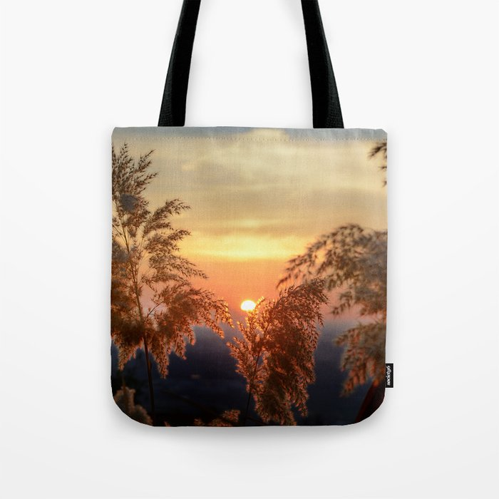 """""""Sun through the fields"""" Sunset at the mountains Tote Bag"""