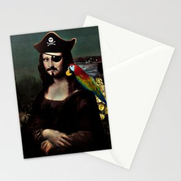 Mona Lisa Pirate Captain Stationery Cards