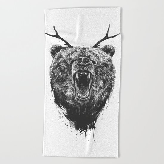 Angry bear with antlers Beach Towel