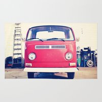 volkswagen Area & Throw Rugs featuring Vintage Volkswagen Bus by Laura Ruth