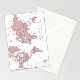 Where I've never been detailed world map in dusty pink Stationery Cards