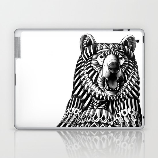 Ornate Grizzly Bear Laptop & iPad Skin