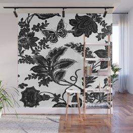 Paisley Jacobean black and White Wall Mural