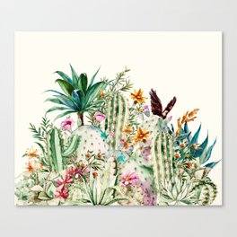 Blooming in the cactus Canvas Print