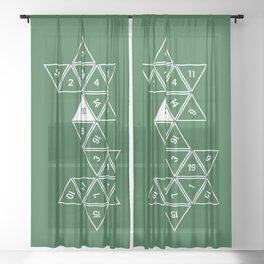 Green Unrolled D20 Sheer Curtain
