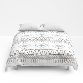 Blue Beige Aztec Comforters