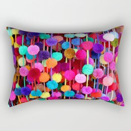 Rainbow Pom-poms (Horizontal) Rectangular Pillow