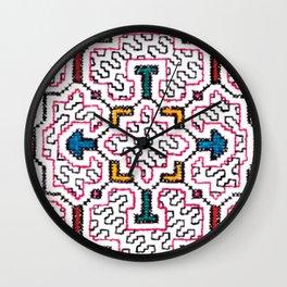 Physical Healing Icaro - Traditional Shipibo Art - Indigenous Ayahuasca Patterns Wall Clock