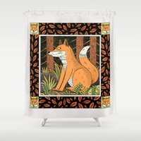 foxes Shower Curtains featuring Foxes by Jack Teagle