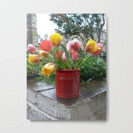 Tulips In A Biscuit Jar Metal Print