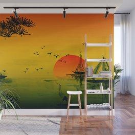 Japanese Sunset Wall Mural