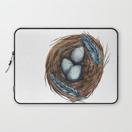 Blue Bird Nest Laptop Sleeve