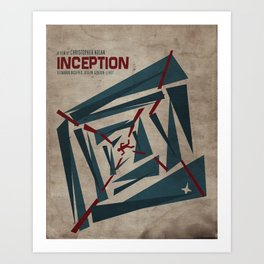 """Inception"" Leonoardo DiCaprio Film Inspired Vintage Movie Poster Art Print"