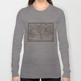 Vintage Map of The World (1864) Long Sleeve T-shirt