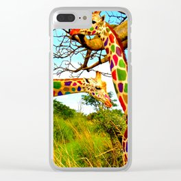 Rainbow Giraffe Clear iPhone Case