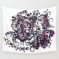 clockwork Wall Tapestries featuring Clockwork by Voodoodle