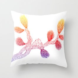 Quails in Love on Joshua Tree by CREYES Throw Pillow