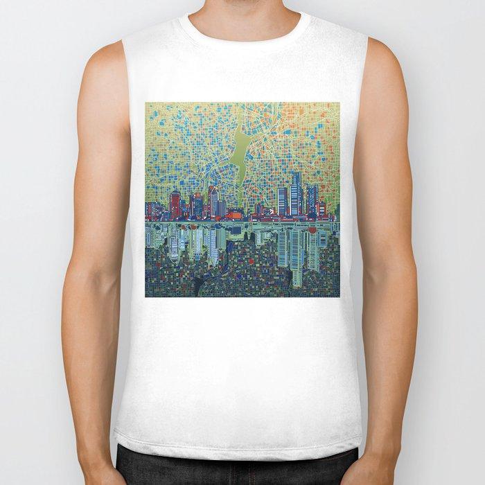 detroit city skyline Biker Tank