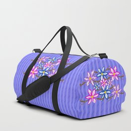 Violet Stripes with Flowers Duffle Bag