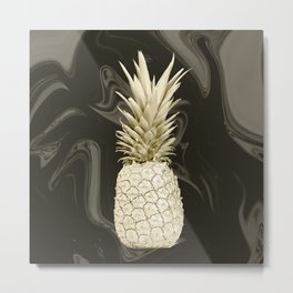 Golden Pineapple Marble Metal Print