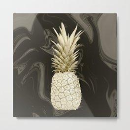 Golden Pineapple Marble Metal Print