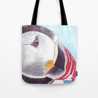 puffin Tote Bags featuring Puffin by Art by Frydendal