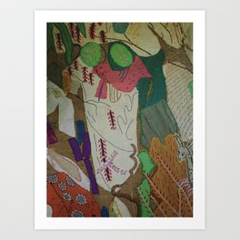 Bird on textures and patterns Art Print