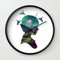 voyage Wall Clocks featuring Voyage by Amandine Léveillé-Quintric