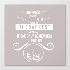 Happiness can be found even in the darkest of times quote harry potter Canvas Print