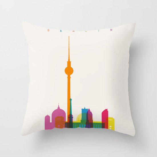 Shapes of Berlin accurate to scale Throw Pillow