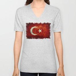 National flag of Turkey, Distressed worn version Unisex V-Neck